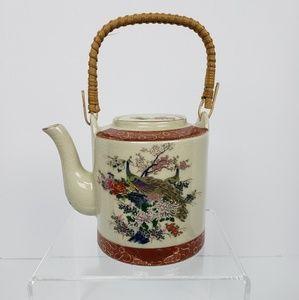 Satsuma Teapot Peacock Design Bamboo Handle